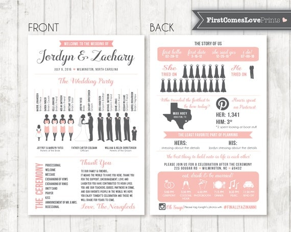 Infographic wedding program template