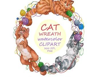 Cat Wreath Clipart, Digital Watercolor Illustration, Cat Clip Art, Hand Drawn Cats, Animal Stock Illustration, Playing Kittens, Animals