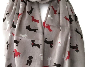 Grey Dog Print Scarf, Gray Scarf with Red Black and White Dachshund Dogs, 100% Cotton Scarf, Doxie