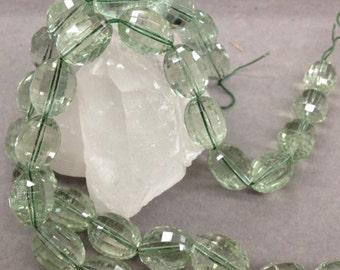 "Green Amethyst 13x18m step cut   15.5""  22 pcs/strand  90 grams"