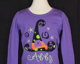 Personalized Halloween Witch's Hat Applique Shirt or Onesie for Boy or Girl