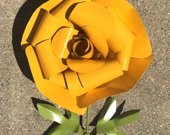 Recycled Metal Rose Large Garden Stake, Flower Bed, Yard Art, Yellow, Blue, Red, Pink, Purple, Coral, Orange Outdoor Lawn Decoration