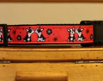 "Sweet puppy kisses, adjustable dog collar with Boston Terriers on grosgrain ribbon  12.5""-18'' neck size"