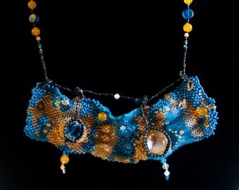 Unique Gift   Bib Statement Abstract Necklace  Deco Art  Beadwoven Painting Freeform - Aventurine, Swarovski Crystal, Bubble Cab, Seed Beads