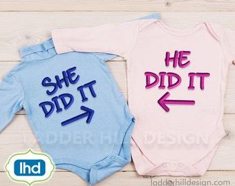 She Did It -- He Did It -- She Did It He Did It Twin Set -- Twin Sibling Embroidery -- Design SA003