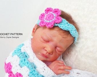 HEADBAND CROCHET PATTERN By KerryJayneDesigns Baby Headband Pattern Flower Headband crochet pattern Crochet Headband pattern 8 sizes Usa Pdf