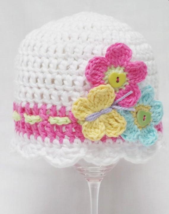 Crochet Flower Girl Basket Pattern : Flutter by crochet hat pattern baby