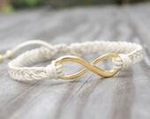 Gold Infinity Bracelet - Adjustable, Gold Adjustable Braided Bracelet, Friendship Bracelet, Best Friend Infinity Bracelet, Sister