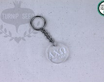 Alpha Chi Omega Keychain - Clear Acrylic with Metal O-Ring