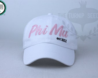 Phi Mu Baseball Cap - Team Script - Custom Color Hat and Embroidery.