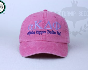 alpha Kappa Delta Phi Sorority Baseball Cap - Custom Color Hat and Embroidery.