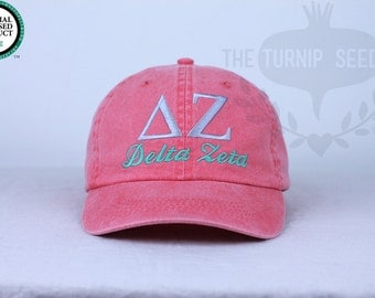 Delta Zeta Sorority Baseball Cap - Custom Color Hat and Embroidery.