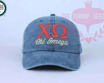 Chi Omega Sorority Baseball Cap - Custom Color Hat and Embroidery.