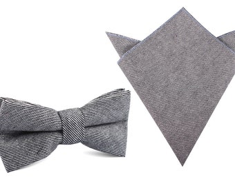 Matching Bow Tie + Pocket Square Combo Black & White Twill Stripe Linen (L190-BT+P)Men's Handkerchief + Bowtie Bowties Ties Mens Men Wedding