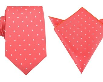 Matching Necktie + Pocket Square Coral Pink with White Polka Dots (M139-T8+P) Men's Handkerchief Neck Tie Combo Ties Neckties Thick Wide