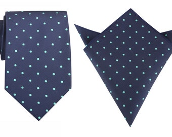 Matching Necktie + Pocket Square Navy Blue with Mint Green Polka Dots (M126-T8+P) Men's Handkerchief + Neck Tie Combo Ties Thick Wide Tie