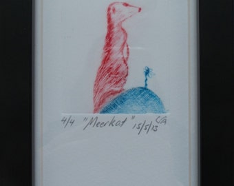 Limited edition etching, Meercat