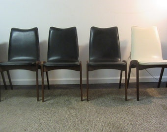 Set of 6 Mid Century Danish Modern Teak Swoop Seat Dining Chairs