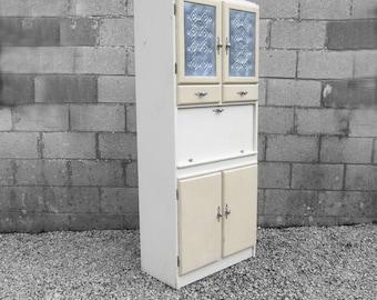 Kitsch Vintage Kitchen Cabinet 1960s Cream Cupboard Storage