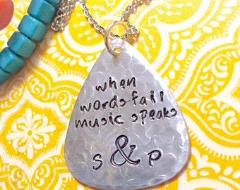 Wedding Jewelry Guitar Pick Necklace - Couples Jewelry - When Words Fail Music Speaks