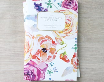Humbled Hearts Daybook - Gold foil - Prayer Journal - floral