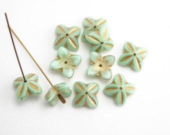 16x6mm Pale Green Bell Flower Czech Glass Beads, (6pcs)  Green Flower Beads, Bell Flower Beads, Pastel Flower Beads FLW0365