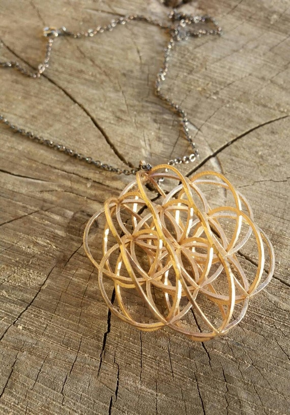 3D Sacred Geometry Bronze Pendant with Chain