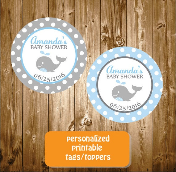personalized whale baby shower stickers tags printable blue and gray