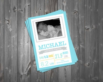 Birth Announcement, Boy Birth Announcement, Newborn Birth Announcement, Blue Birth Announcement