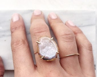 White Tabasco Geode in 14k gold filled prong setting, Geode ring, size 6.25 /6.5