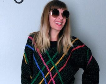 Vintage 80s lazer knit sweater