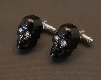 Murano Glass Skull Cufflinks