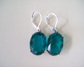 Sterling Silver Earrings - Paraiba Blue