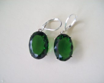 Sterling Silver Earrings - Chrome  Diopside Green