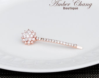 Rose Gold Hair Pin with Grade AAA Cubic Zirconia Flower Hair Clip Bridal Hair Clip rose gold cubic zirconia cz hair pin