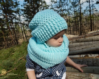 Women scarf and hat. SET! Hand knitted scarf and hat. Gift for mom