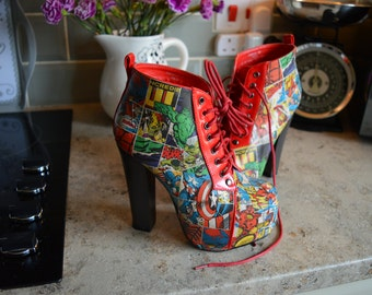 Custom Block Avengers Heeled Boots