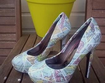 Custom Vintage Geometric Map Heels