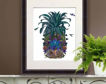 Tropical decor Pineapple print Flowers 1 beach house coastal living pineapple decor Tropical print home decor wall decor pineapple wall art