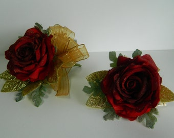 COMBO BURGANDY ROSE Wristlet And Boutonniere