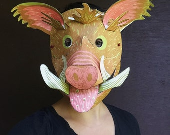 Mask - Wild Boar, DIY, Adults, Kids, Men, Women