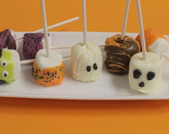 Halloween Chocolate Covered Marshmallow Pops – 1 Dozen
