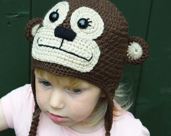 Handmade Crochet Monkey hat, Boys hat, Girls hat, Character Hat, Animal hat, Monkey hat