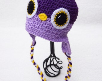 Crochet baby hat, Bird hat, Purple Bird, Baby photo prop, Baby hat, Baby girl, Baby props