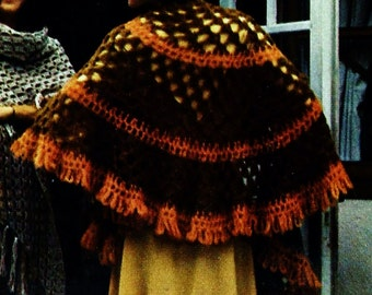 Gypsy Capelet Shawl Vintage Crochet Pattern Download
