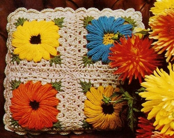 Granny Square Pillow Top Vintage Crochet Pattern Download