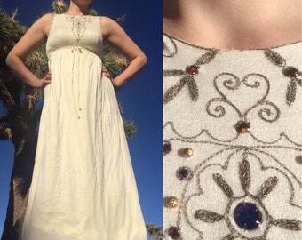Vintage 1970s Cream Maxi Dress w/ Embroidery and Rhinestones