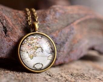 Antique map necklace, vintage map necklace, map necklace, map jewelry, antique map pendant, vintage map pendant, vintage map jewelry