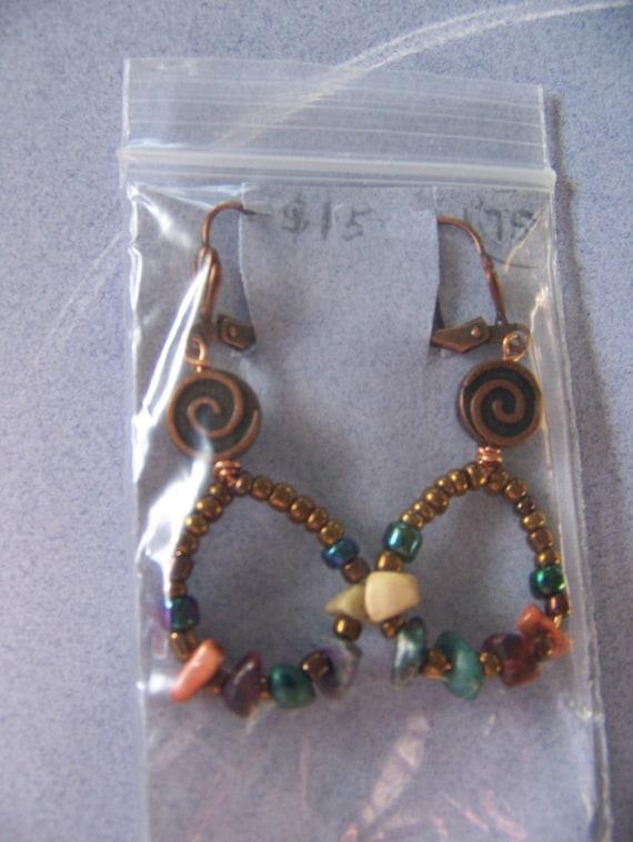 Bronze Beaded Dangle Earrings, Copper Drop Earrings, Primitive Earrings, Tribal jewelry,#75
