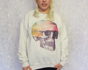 Pastel Grunge Sweater Skull Candy Clouds Surreal Pastel Goth Oversized Jumper
